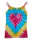 Ladies tie dye strap/string top , Sunshine Rainbow Heart Tie Dye .