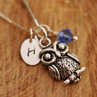 925 Sterling Silver Personalised Cute Owl Pendant Chain Necklace Birthstone /Box