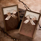 Brown Pocket Satin Ribbon Wedding Invitations Cards Seals Free P&P GA1014
