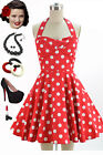 50s Style Red POLKA Dot TRAVELING CUPCAKE TRUCK Dress with HALTER Petal Bust