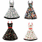 CLASSY RETRO PRINT 50S 70S VINTAGE HALTER SWING EVENING ROCKABILLY DRESS PINUP