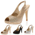 NEW WOMENS OPEN TOE LADIES PARTY BUCKLED STILETTO HEELS SANDALS SHOES SIZE 3-8
