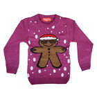 Childrens Purple Novelty Fun Christmas Knitted Funky Ginger Bread Man Jumper New
