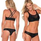 Sheridyn Swim Sport Luxe Swimwear Razor Back Cropped Mesh Top Black Bkini Set