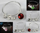 Silver Beauty of Head Charm Crystal Wire Bangle Adjustable Bracelet Expandable