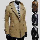 XMAS TOP!! Casual Double Breasted Hoodie Men Trench Coat Jacket Blazer WINTER 01