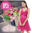 BNWT FIFI Hot Pink Chiffon Corsage Prom Evening Bridesmaid Dress UK 6 - 18