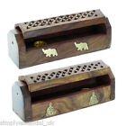 "Wooden Incense Holder Ash Catcher Box 6"" Buddha Elephant + 5 FREE INCENSE CONES"