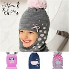 NEW Cute Wool Toddler Girls Hat Knitted Winter Hooded Cap Scarf Warm Acrylic