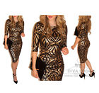 Womens Pencil Bodycon Midi Dress 3/4 Sleeve Aztec Tribal Monochrome Print