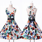 Halter Vintage Housewife 50s 60s Pinup Swing Cocktail Ball Gown Rockabilly Dress
