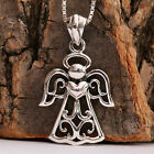 925 Sterling Silver Elegant Guardian Angel Embraces Heart Pendant Necklace w Box