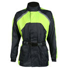 Black / Hi Vis Motorcycle Waterproof Elasticated Over Jacket Quality Rain Wear