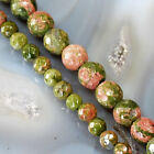 "Natural Unakite Faceted Round Beads 15"", pick your size"