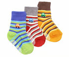 Baby Boy Toddler Infant 3-pack Cars Sailor Stripe Anti Skid Socks Age 1 2 3 Gift