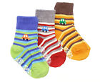 Baby Boy Infant 3-pack Cars Sailor Stripe Anti Skid Ankle Calf Socks 6-18 Month