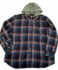 Men's Hooded Flannel Shirt Jacket Craftsman Insulated Red & Blue Plaid