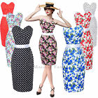 Maggie Tang 50s VTG Hepburn Rockabilly Floral Pinup Party Pencil Dress S-534