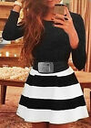Women's Sexy Party Cocktail Long Sleeve Strip Bandage Bodycon Evening Mini Dress