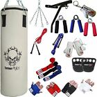 TurnerMAX Boxing Punch Bag Set Punching Bag Gloves Wall Bracket White Canvas