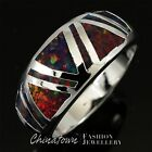 Black Cherry Red Fire Opal Triangle Inlay Silver Band Ring Size 6 7 8 9 10