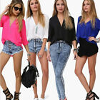 Sexy New Ladies Womens Chiffon T Shirt Long Sleeve Blouse Casual Tops Size 6-12