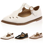 NEW LADIES STRAPPY CUT OUT WOMENS T-BAR GEEK WORK PUMPS FLATS SANDALS SHOES 3-8