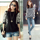 New Fashion Women Sexy Lace Sleeve Neck Blouse T-Shirt Floral Lace Blouse Tops