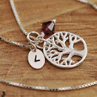 925 Sterling Silver Personalised Tree of Life Pendant Chain Necklace Birthstone