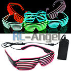 EL Wire Neon LED Light Up Shutter Shaped Glasses for Rave Costume Party HOT USA