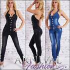 NEW sexy 2 in 1 outfit WOMENS JEANS JUMPSUIT 6 8 10 12 14 NECK OVERALL PANTS top