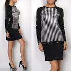 Elegant Womens Ladies Dog Tooth Dress with Long Sleeve S/M L/XL size 8/10 12/14