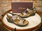 Clarks Pewter Leather Lexi Walnut Ankle Strap Sandal New