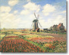 HUGE Monet Tulip Fields with Windmill Stretched Canvas Giclee Repro ALL SIZES