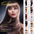 """Tengda 15"""" Clip In 100% Remy Real Human Hair Extensions THIN 70G 15 Colors"""