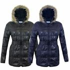 WOMENS FUR HOODED PUFFER QUILTED PADDED LONG WETLOOK LADIES BELTED JACKET COAT