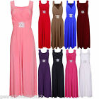 NEW WOMENS LONG FULL LENGTH HALTER NECK MAXI BUCKLE PARTY LADIES PLUS SIZE DRESS