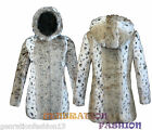 WOMEN LADIES SOFT FAUX  FUR WARM WINTER ANIMAL PRINT HOODED JACKET COAT 8-16