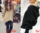 Asymmetric Hem Batwing Loose Knitwear Hoodie Sweater Dress Hooded Jumper