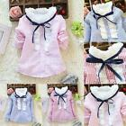 British Style Kid Girls Lace Stand Collar Shirt Stripe Cotton Blouse Coat Tops