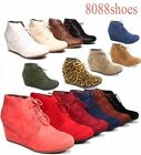 Women's Caual Oxford Ankle Booties Lace up  Low Wedge Shoes Size 5 - 10 NEW