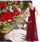BNWT EMILY Claret Cranberry Chiffon Maxi Prom Evening Bridesmaid Dress UK 6 - 18