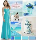 BNWT FAITH Aqua Turquoise Corsage Strapless Bridesmaid Dress Sizes UK 6 - 16