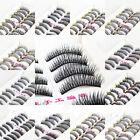10Pairs Long Cross False Eyelashes Makeup Thick Black Upper/Lower Eye Lashes Lot