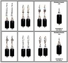 Black Column Onyx, .925 Silver Or Silver Plate Lever Or French Hook Earrings