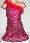 GIRLS 70s STYLE PINK FEATHER SEQUIN ONE SHOULDER EVENING DISCO PARTY DRESS