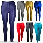 Womens SHINY DISCO PANTS High Waisted Legging American Trouser Ladies New 6-14