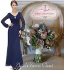 BNWT FAYE Navy Blue Chiffon Jewel Evening Ballgown Maxi Dress Sizes 6 -16