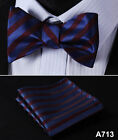 Stripe Floral Check Dot Men Woven Silk Wedding Self Bow Tie handkerchief Set #A7
