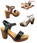 Women's Strappy Chunky Platform Wedge Heel Sandal Shoes All Size 5.5 - 10 NEW